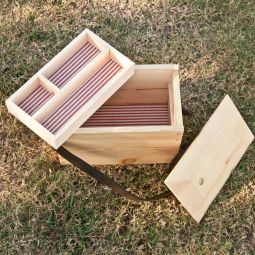 Black Powder Shooting Range Box with Divided Tray & Leather Strap, Custom Made