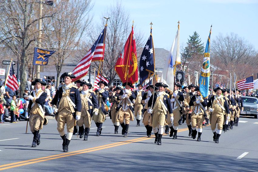 Lexington Patriots Day Parade - Town of Concord Massachusetts - Downtown Lexington Massachusetts - Lexingtons Town Celebrations Committee