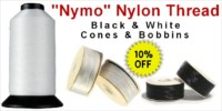 Nymo Nylon Thread: Bobbins & Cones, White & Black - Crazy Crow Trading Post Crow Calls Sale May-June 2018