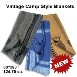 Vintage Camp Style Blankets in 3 Colors - Crazy Crow Trading Post
