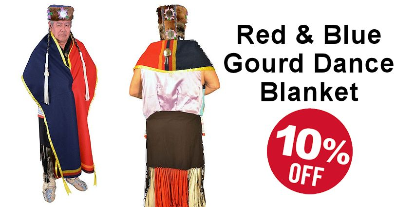Red & Blue Gourd Dance Blanket - Crazy Crow Trading Post Crow Calls Sale