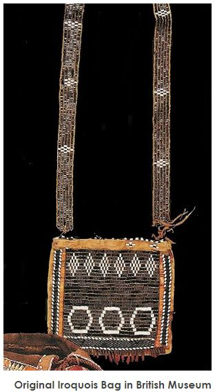 IROQUOIS GLASS WAMPUM BANDOLIER BAG