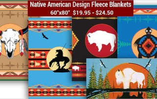 American Indian Design Fleece Blankets for the Holidays from Crazy Crow Trading Post