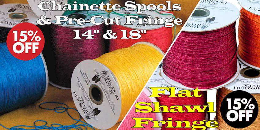 "Shawl Fringe Sale - 1800 yard Chainette Spools, 14"" and 18"" pre-cut; 244 yd flat fringe spools"