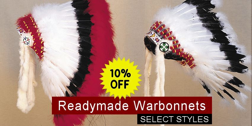 Native American Crazy Horse Feather Headdress War Bonnet