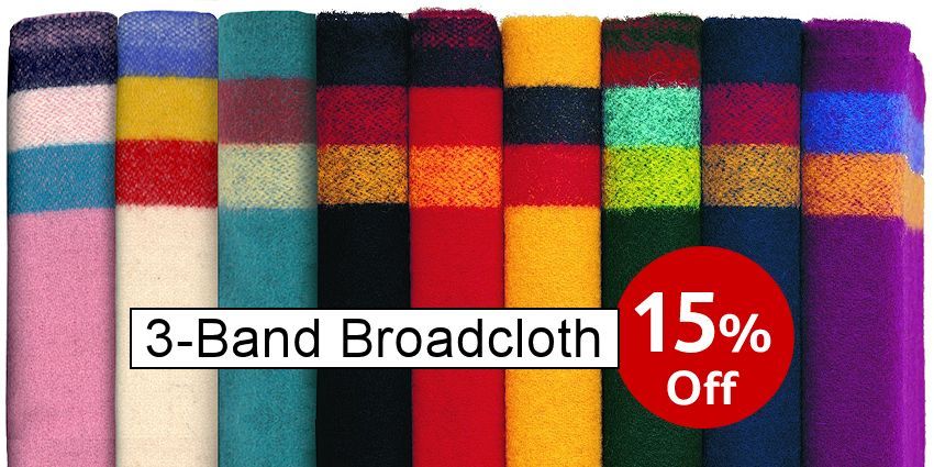 3-Band Wool Broadcloth - SAVE 15% - Crazy Crow Trading Post Crow Calls Sale