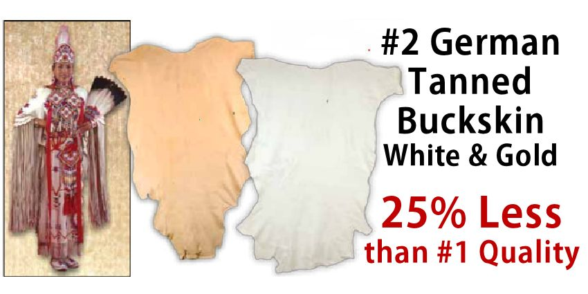 #2 German Tanned Buckskin - White & Natural