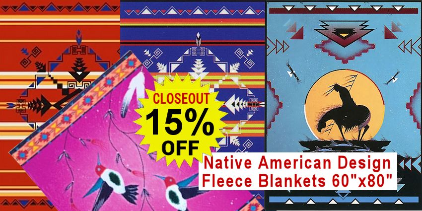 Select Fleece Native American Design Blankets - CLOSEOUT SALE - LIMITED QUANTITIES: SAVE 15%