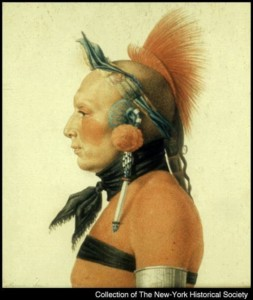 Hair pipes worn as ear ornaments. An Osage warrior (1806)