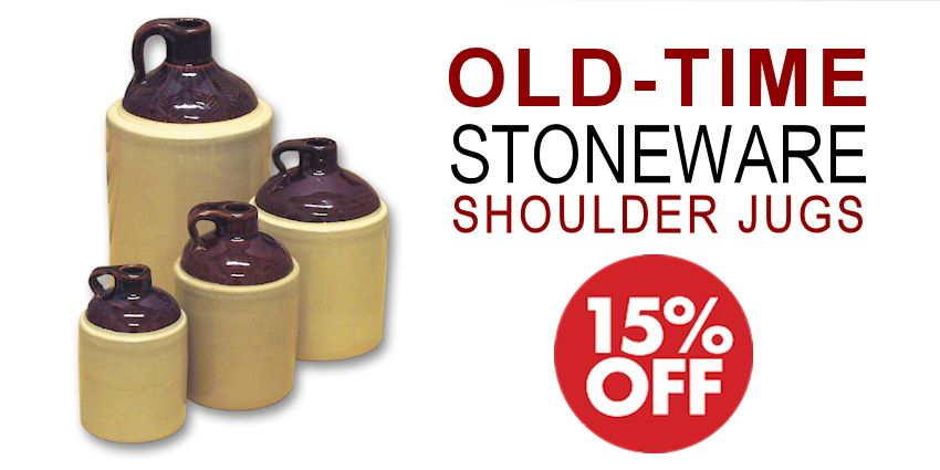 Old-Time Stoneware Shoulder Jugs