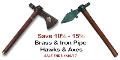 Polished Iron & Brass Pipe Tomahawks and Pipe Axes - 10% to 15%