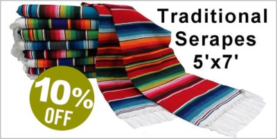 Traditional Mexican Serape - 5' x 7' - 10%